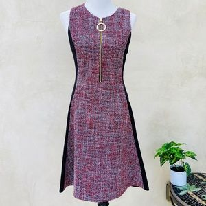 DKNY Color Block Tweed Sleeveless Flare Dress NWT